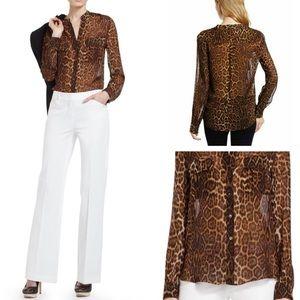 BCBGMAXAZRIA Silk Anderson Button up Leopard Cocoa